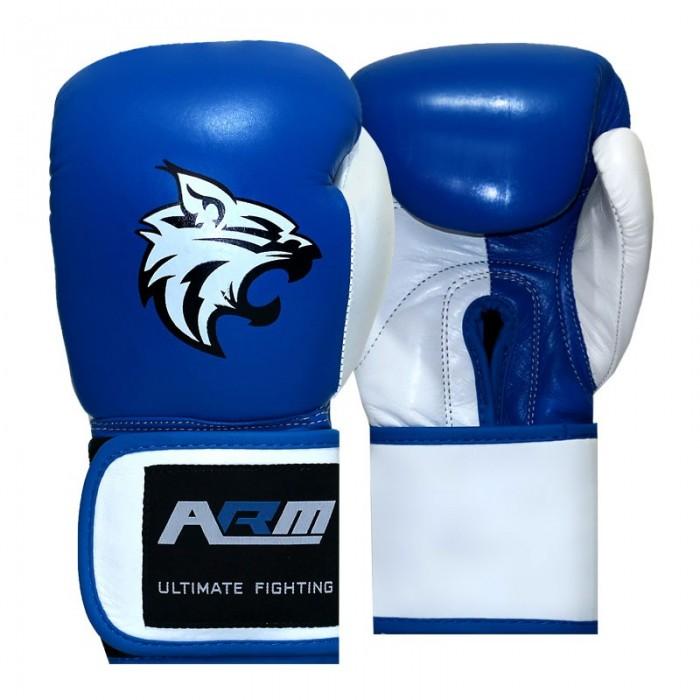 دستکش بوکس چرم تایلندی ARM مدل چسبی BLUE2